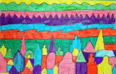 colourful city art lesson (Medium)