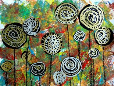 Hundertwasser lollipop trees art lesson (Medium)
